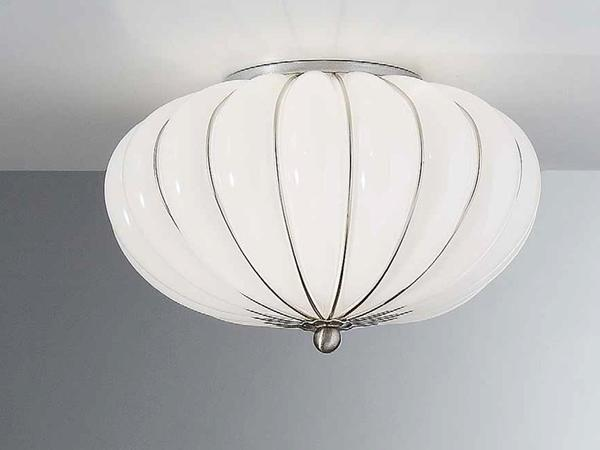 Elegant white blown Murano glass ceiling light, 11 inches in diameter