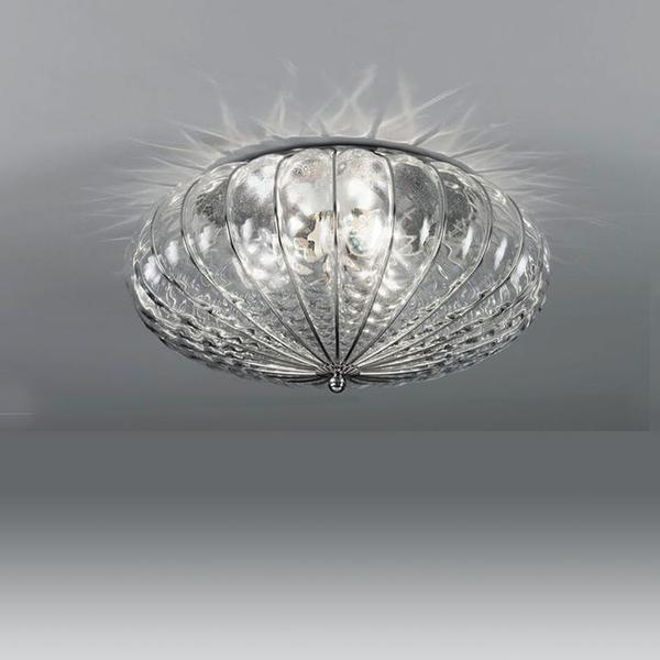 Impressive clear Venetian flush ceiling light in balloton glass in 3 sizes