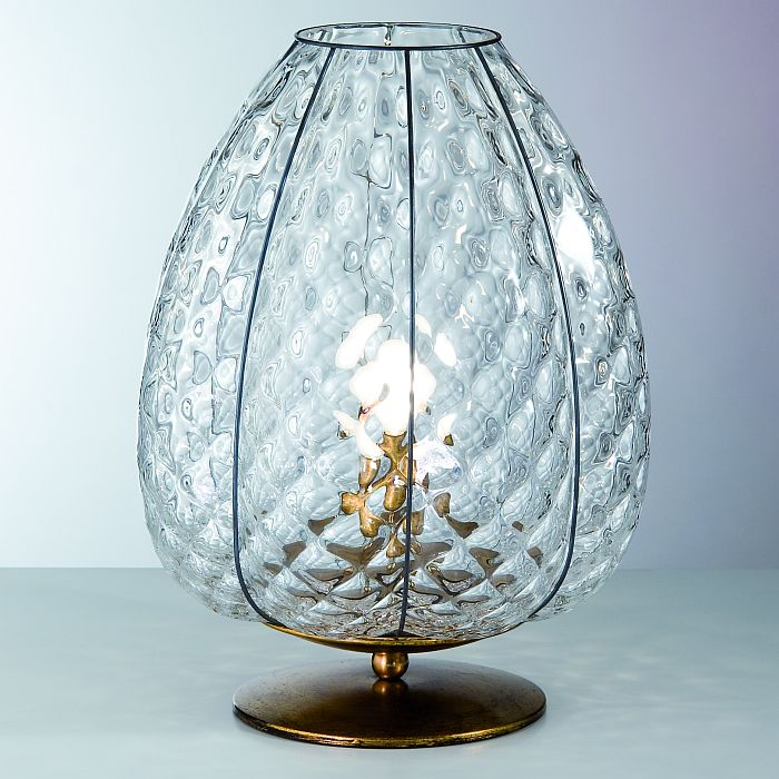 Murano balloton glass baloton table light with gold leaf base