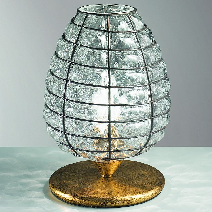 Transparent Venetian glass table lamp with balloton pattern