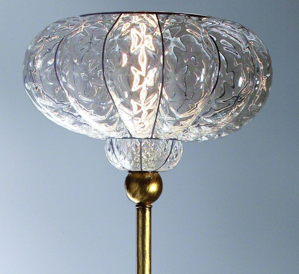 Clear Venetian baloton glass floor lamp with gold leaf base