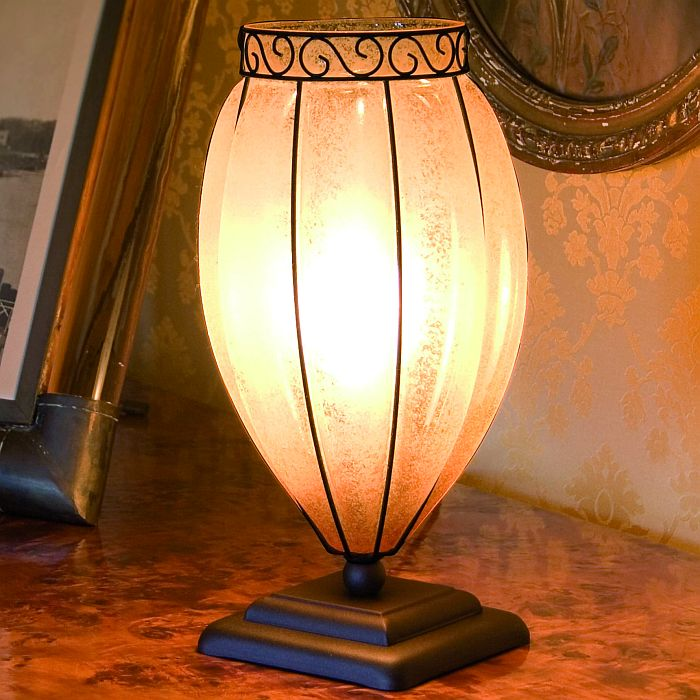 "Amber Murano glass and bronze table lamp with rustic ""scavo"" finish"
