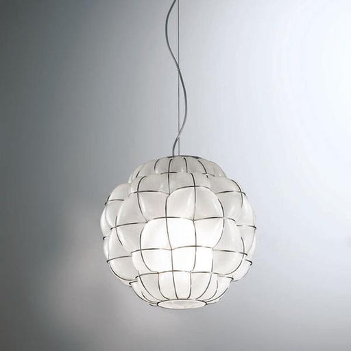White or clear handblown Murano glass ceiling pendant with wire frame