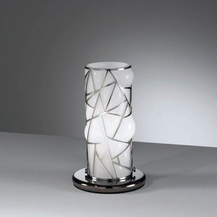 Small modern milk white Murano glass table lamp