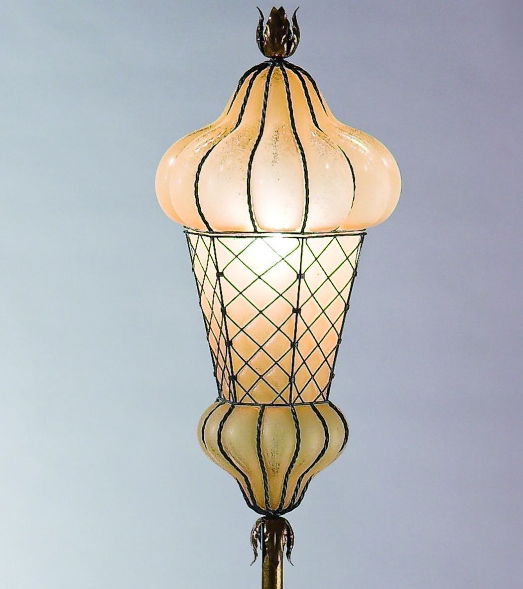 Hand-blown amber Venetian glass floor lamp  with rustic finish