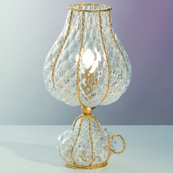 Clear baloton cristallo glass table light with gold frame