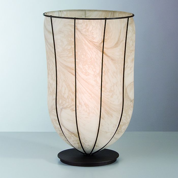 Pale brown marbled alabaster Venetian table light