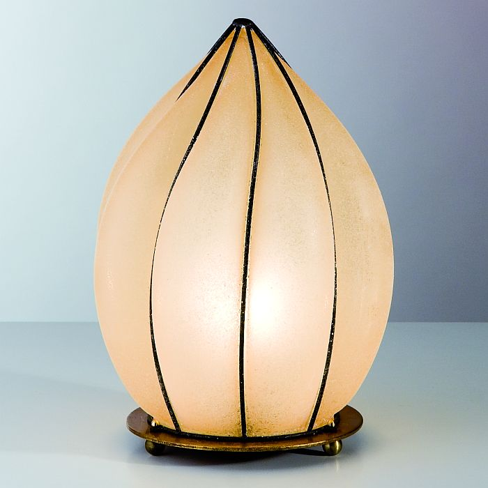 Venetian table lamp with amber scavo glass diffuser