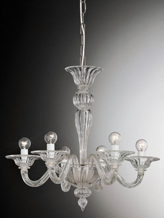 Versatile small modern Murano glass chandelier with 6 lights & options for custom colors