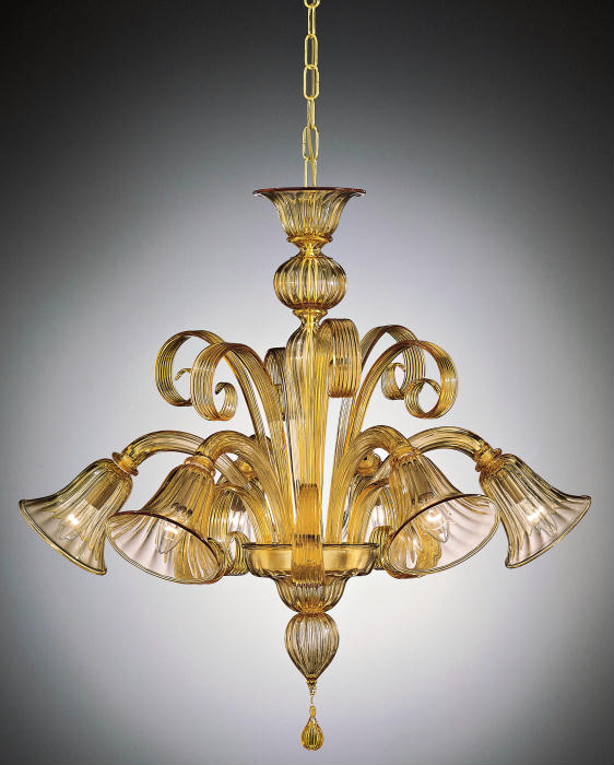 Classic amber Venetian glass chandelier in amber and other bespoke colours
