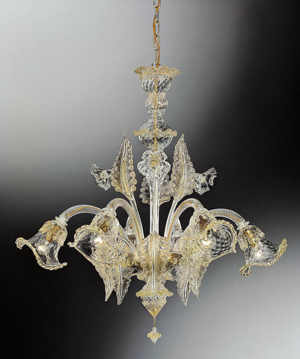 Beautiful medium sized Murano glass leaf chandelier with 24 carat gold