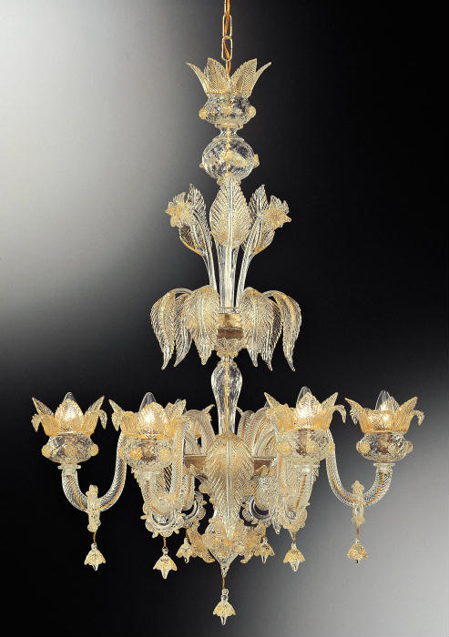 Hand-blown Murano glass stairwell chandelier with 6 lights and 24 carat gold detail