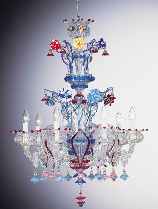 Exuberant and colorful Murano glass chandelier with hand-crafted flowers