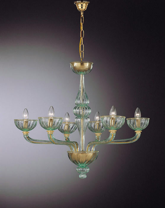 Clear Venetian 6 light chandelier with green accents. Custom options available.