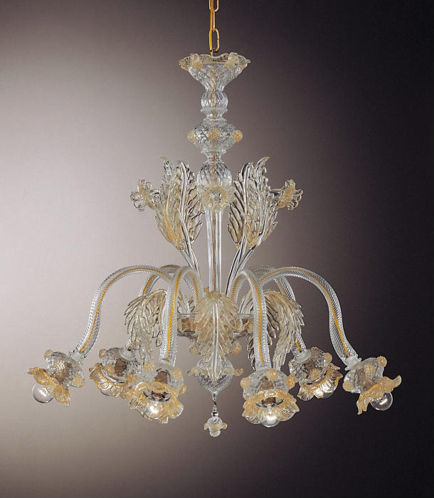 6 Light Murano chandelier with flower decorations in bespoke colors
