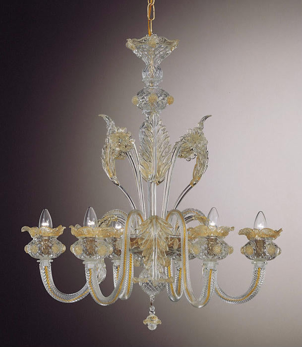 Classic Murano chandelier with hand-worked gold decoration and 6 lights