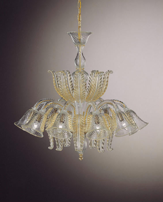 Hand-worked traditional  8 light Venetian glass chandelier with 24 carat gold accents