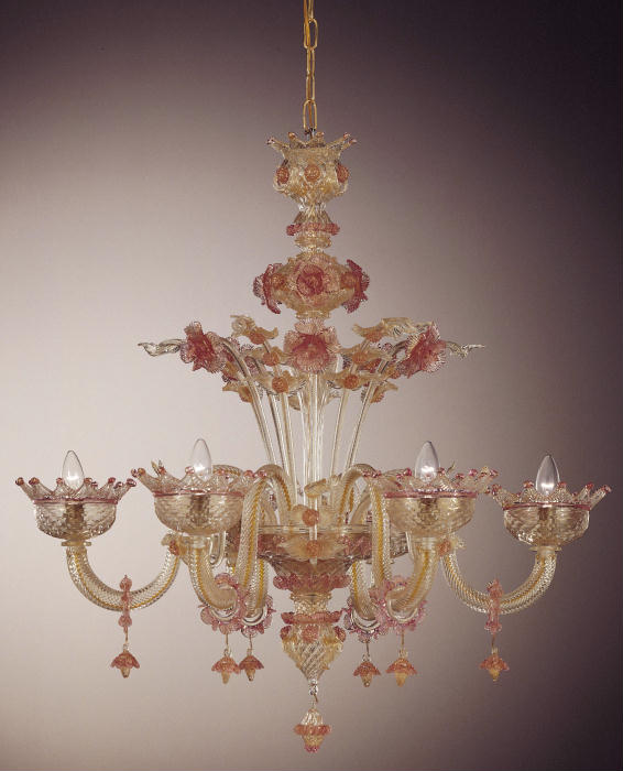 wonderful 6 light Murano chandelier with exquisite pink and gold floral decorations