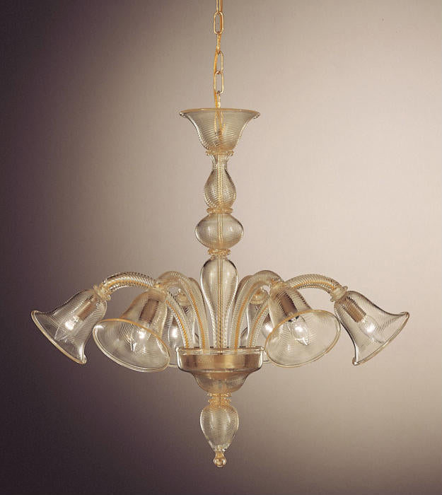 Murano glass 8 light chandelier with rigadin pattern and 24 carat gold