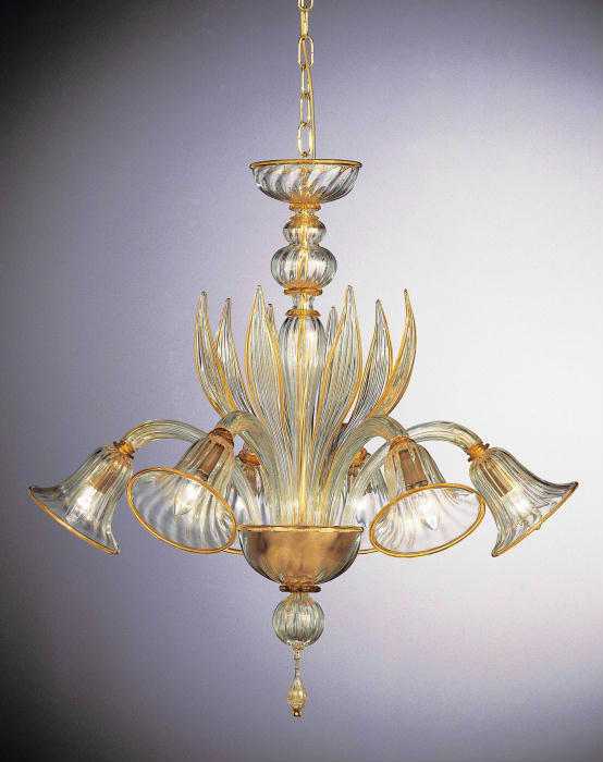 Stylish class Venetian chandelier with amber and 24 carat gold and custom options