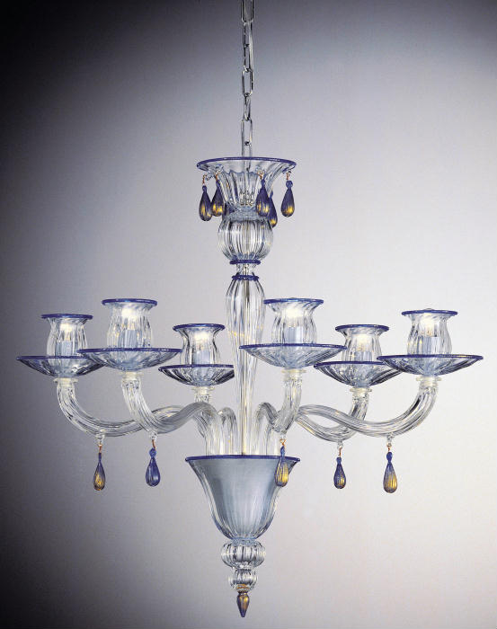 Super-stylish clear Murano glass chandelier with 24 carat gold and custom color details
