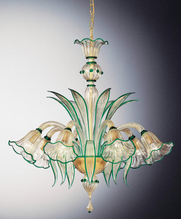 Elegant traditional Murano chandelier with details in custom colors