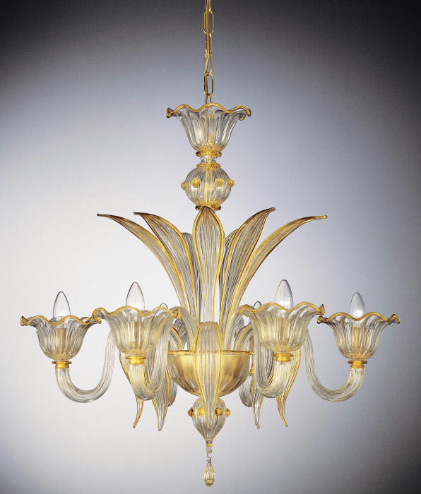Hand-blown 6 light  Murano glass chandelier with gold and custom color accents