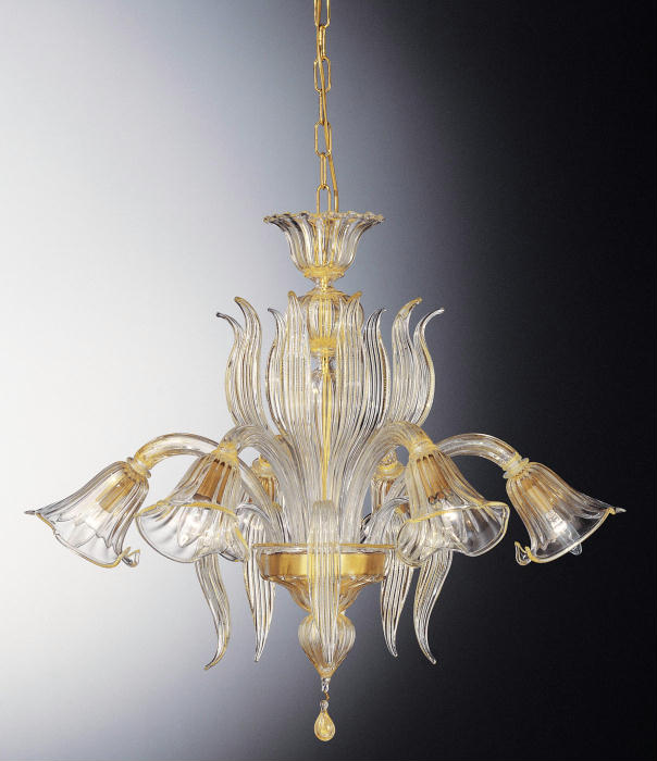 Six light hand-blown Venetian glass leaf chandelier with 24 carat gold