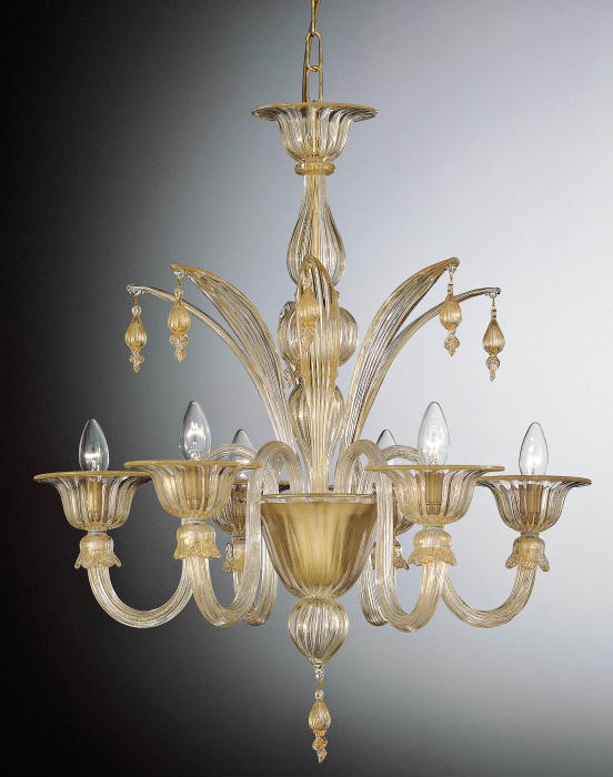 Customizable  Murano glass chandelier with golden droplets and elegant leaves