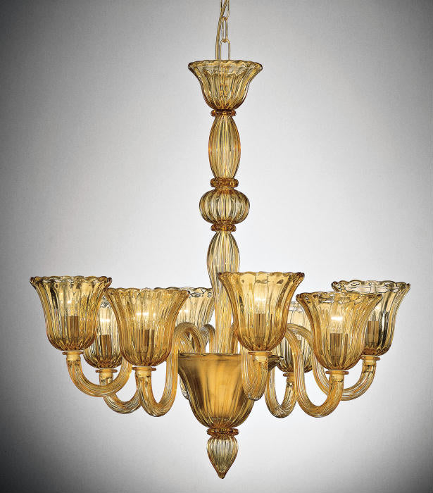Classic Venetian glass chandelier with 8 tulip-shaped shades in a range of colors