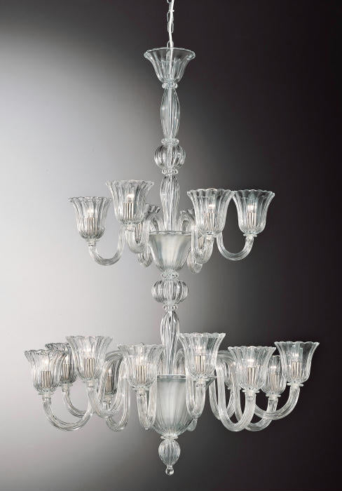 Spectacular clear Murano glass entrance hall chandelier with eighteen lights