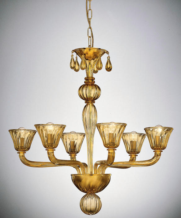 Classic Venetian six-light glass chandelier in custom colors and sizes