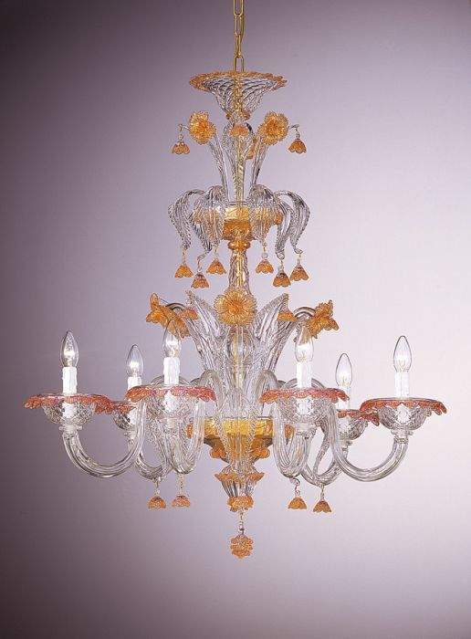 Ornate six light Venetian chandelier with pink and gold decorations