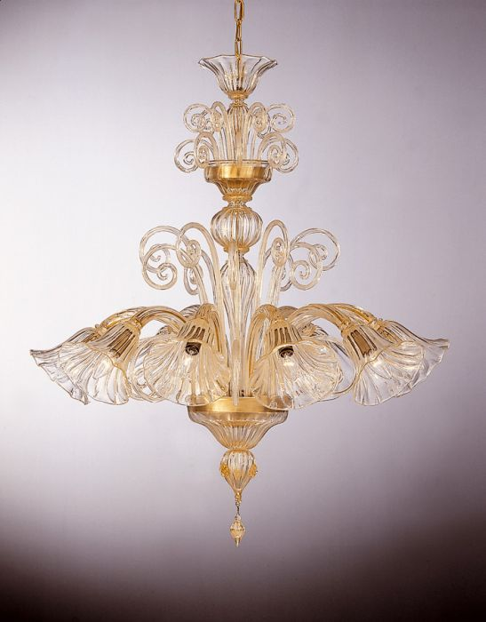 Enchanting eight light clear Murano glass chandelier with many color and size options