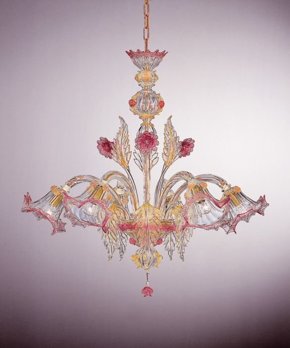 Elaborate six light Murano glass chandelier with flowers in pink and custom colors