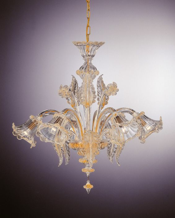 Beautiful transparent six light Murano glass chandelier with 24 carat gold details