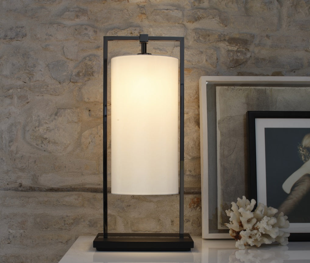 High-end Italian black nickel and dark oak table light with linen diffuser