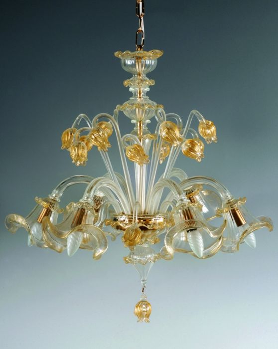 Eight light classic  Murano glass chandelier with 24 carat gold accents