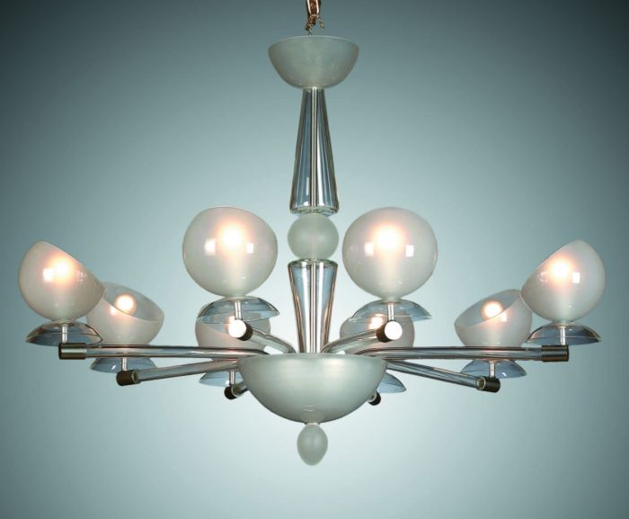 Elegant white or red Murano glass chandelier in the art deco style