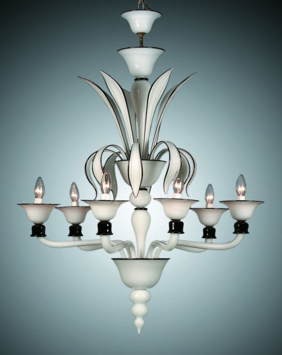 Classic hand-blown art deco chandelier in black and white Murano glass