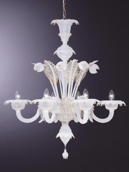 Lovely white Murano glass chandelier with 8 lights and 24 carat gold accents