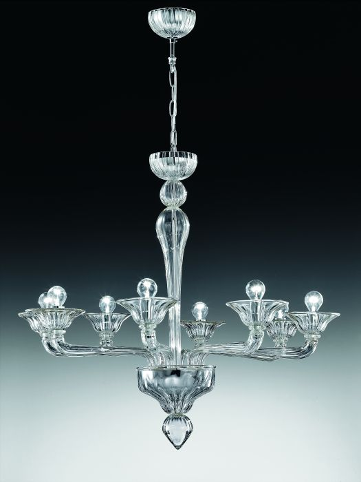 Stunning understated Murano glass or crystal 8 light chandelier  in multiple colorways