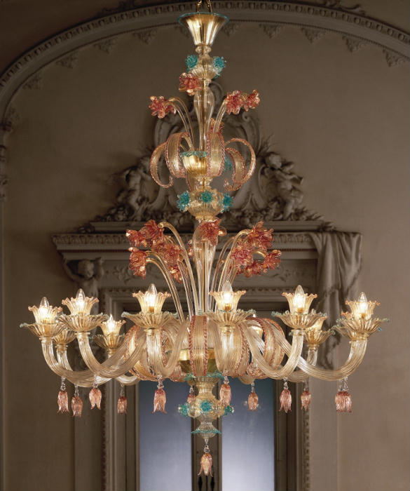 Large ornate ruby, gold & blue 12 light flower chandelier in Murano glass