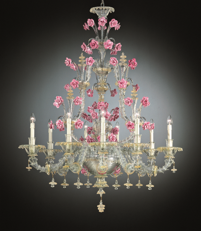 Enchantingly pretty 9 light Venetian glass chandelier with pink roses