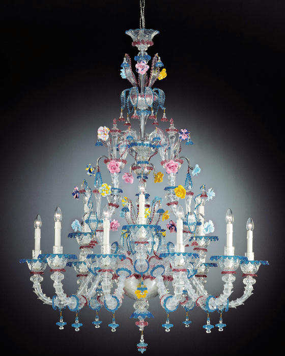 Breathtaking large Murano glass Rezzonico chandelier in custom colours