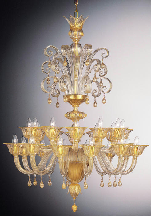 Exquisite 24 light Murano glass chandelier with 24 carat gold