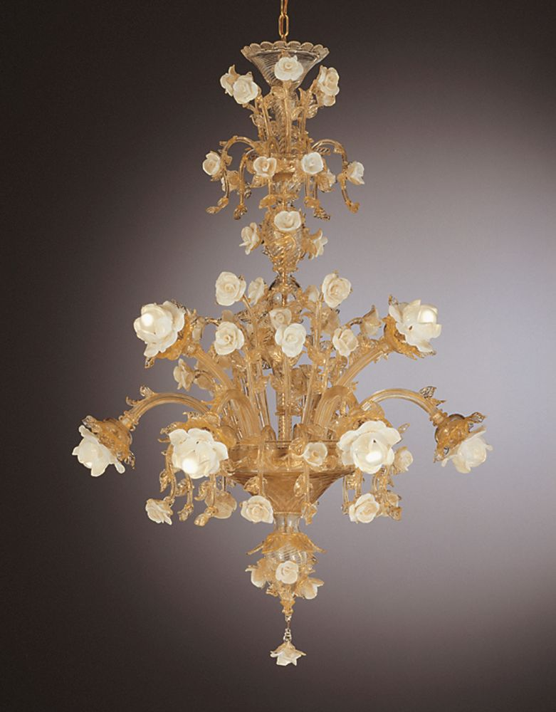 Customizable Venetian rose chandelier with 24 carat gold-infused glass
