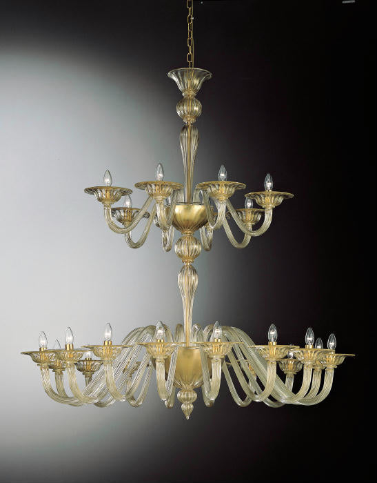 Tall traditional clear Murano glass chandelier with gold