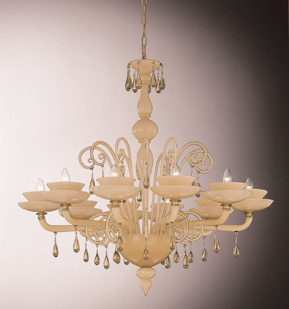 Lovely smoked incamiciato Murano glass chandelier with ten lights
