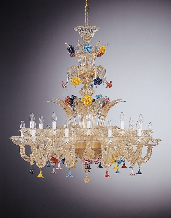 Flamboyant and colorful large Murano glass chandelier with 18 lights